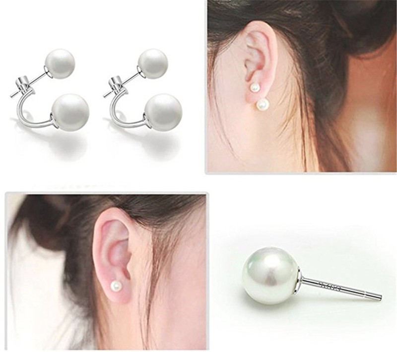 Free Shipping Luxury Earrings 925 Sterling Silver Double Pearl Earrings Women'S Natural Pearl Bead Jewelry Promotion