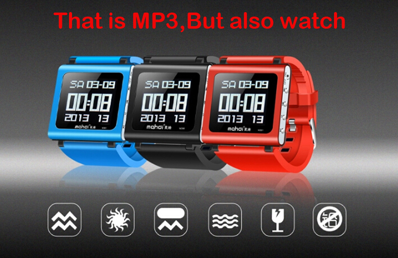 2015 MINI Sport Clip Multifunction Watch MP3 Music Player Video Player 8G 3D Pedometer Voice Recorder
