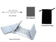 Intelligente tasca pieghevole tastiera di alluminio di bluetooth pieghevole da viaggio universale senza fili della tastiera per iphone ipad tablet pc phone(China (Mainland))