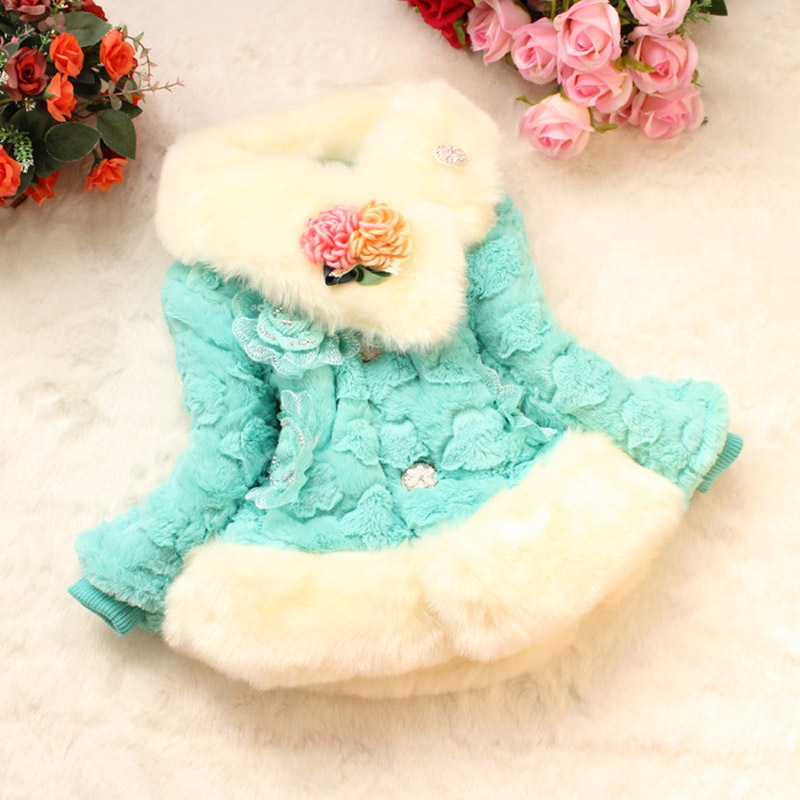 Autumn Winter Children's Clothing Baby Girl's Jacket Coats Thick Bowknot Pink Flower Jacket Children Outerwear Jacket For 3-6Y(China (Mainland))