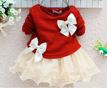 4 color 2015 spring autumn new fashion knitting baby girl lace flower princess dresses Long sleeve kids baby girl dress children