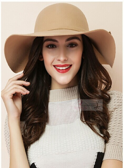 2015 Women's Sun Hats Soft Vintage Wide Brim Wool Felt Bowler Fedora Hat Floppy Women's Large Bucket Hat Black Free Shipping(China (Mainland))