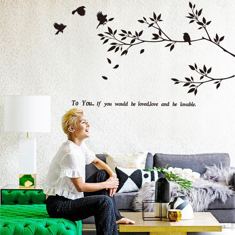 2015 New Art Design Tree leaves Wall Sticker Bird Wall decal Modern Plane home decor Murals for living bed room free shipping(China (Mainland))