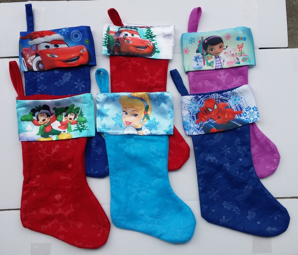 Free Shipping.,41cm cinderella princess,car,spiderman,minnie mouse Cartoon Christmas stockings/Xmas sock/Christmas decoration(China (Mainland))