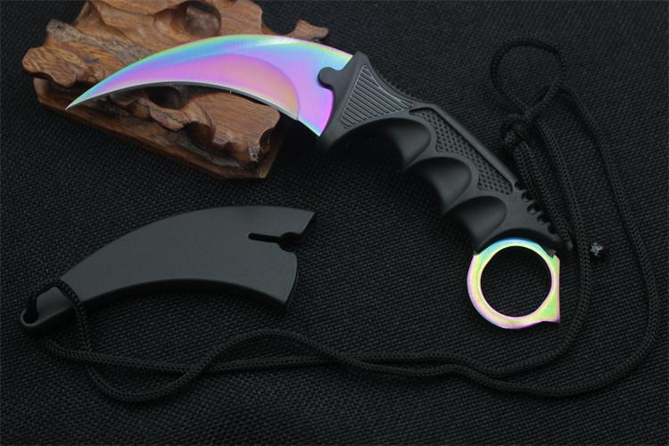 Buy Cool Handmade Hunting Karambit Knife CS GO Never Fade Counter Strike Fighting Survival Tactical Knife Claw Camping knives Tool cheap