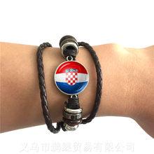 Bélgica, Brasil, México, Marruecos, Croacia, Corea, pulsera de cuero ajustable con cúpula de vidrio de 20mm con logotipo de bandera nacional de fútbol de Costa Rica(China)