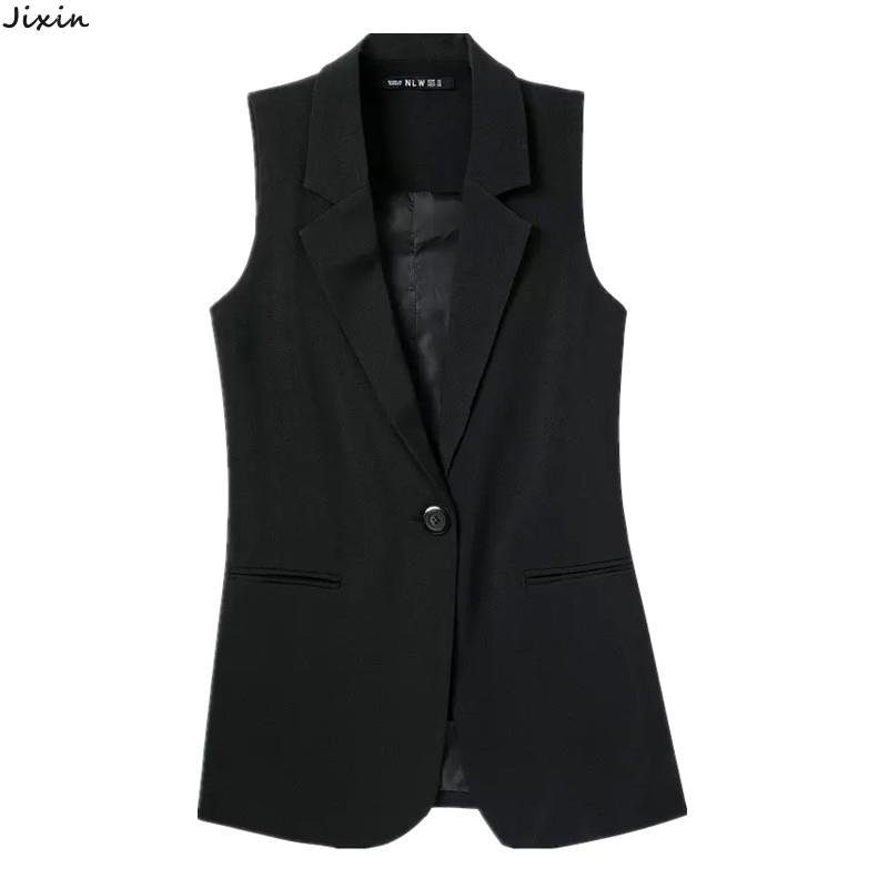 Black White Single Button Sleeveless Blazer Vest Long Models Suit Vest Women(China (Mainland))