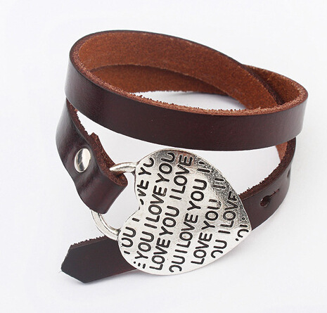 Unisex Fashion Genuine Leather Bracelet For Men Women Heart Wristband Jewelry 2B060(China (Mainland))