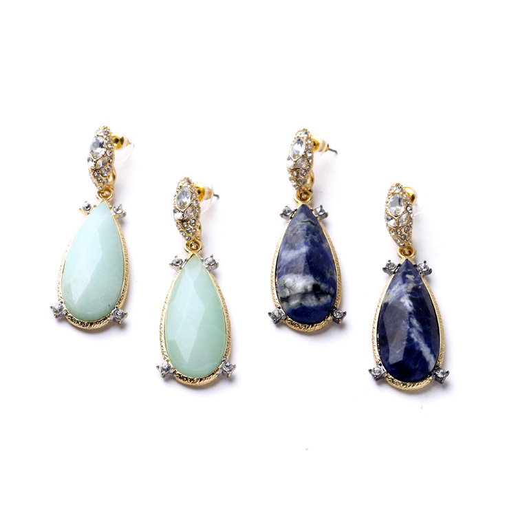 Party Dress Match Earring Accessories 18k Gold Dark Blue & Light Blue Women Big Teardrop Classic Earring(China (Mainland))