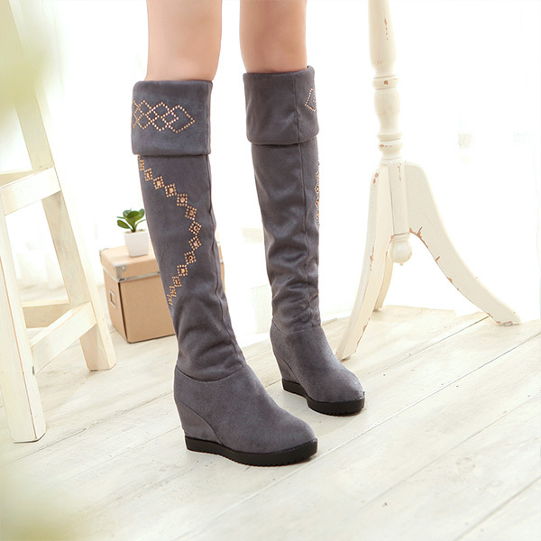 Autumn and winter are 2014 Chinese tall canister boots knee high women shoes Rhinestone slope with Knight Boot Bag mail XY012(China (Mainland))