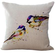 Ink Painting Bird Linen Throw Pillow Case