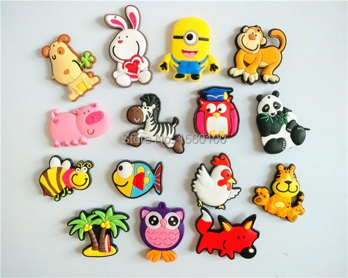 Free shipping (15pcs/lot)Cartoon Animal fridge magnets whiteboard sticker Silicon Gel Refrigerator Magnets Kids learning toy(China (Mainland))