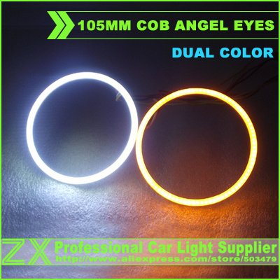 1pair/lot  car headlights styling parking 105mm 4.13 inch cob led angel eyes halo ring light 12v to 24v dual color zx auto<br><br>Aliexpress