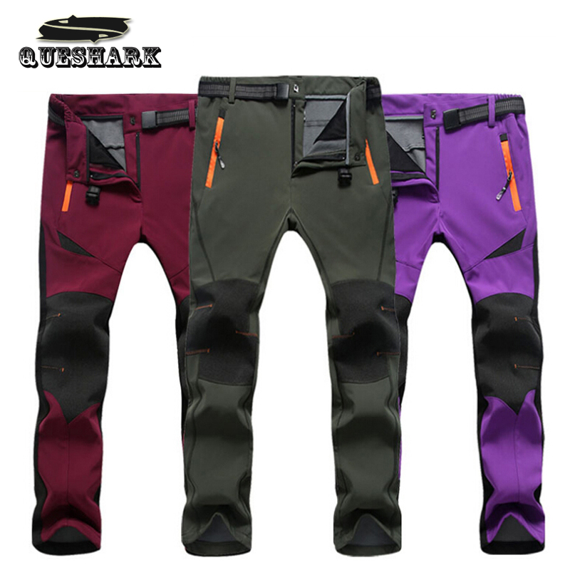 Lovers Thickened Warm Hiking Cycling Pants Men SoftShell Climbing Fishing Outdoor Sports Trousers Couples Winter Ski Pants