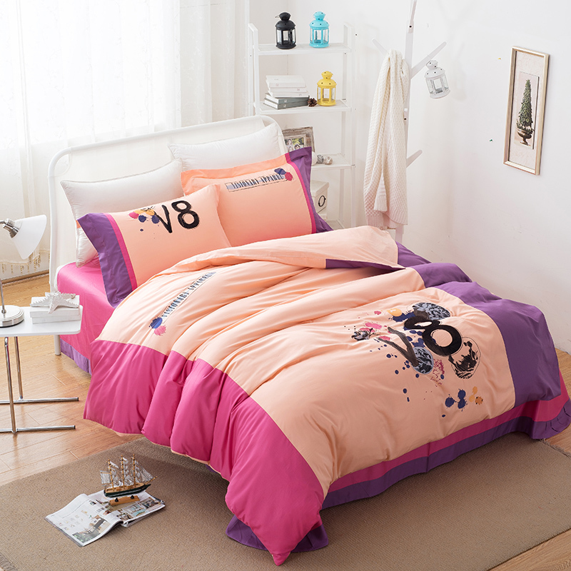 2015 hot sale high quality brand print 100%cotton queen bed set bed sheet set bedclothes quilt cover set bedding set JJ-001(China (Mainland))