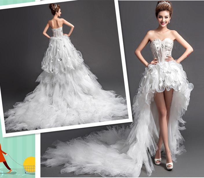 Hk2521f hot china dress shop organza sexy high low wedding for Sexy high low wedding dresses