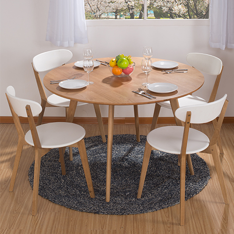 Round dining table combination ikea dining table and four chairs white small apartment nordic Small white dining table