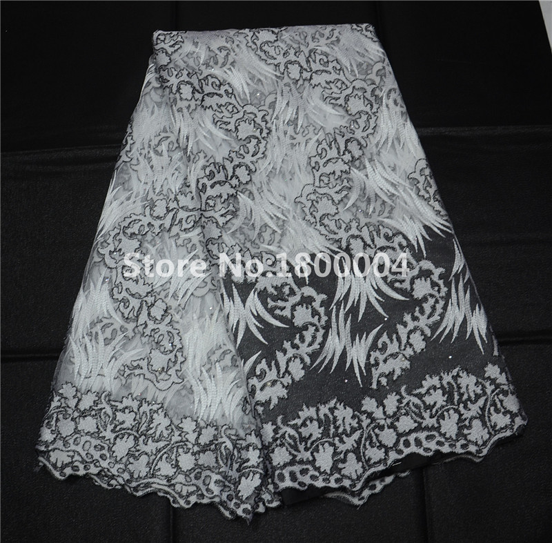 African Swiss Voile Lace, High Quality Net Lace fabric,French Guipure tulle mesh Lace Fabric rhinestones for wedding LP3038(China (Mainland))
