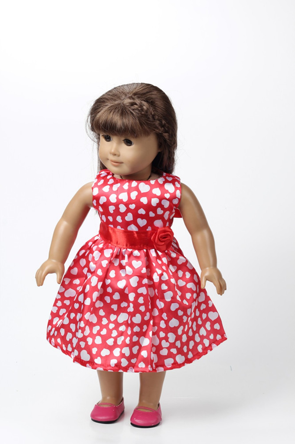 New Style Popular 18 American Girl Doll Clothes Pink Dress Baby Doll Clothes And Accessories