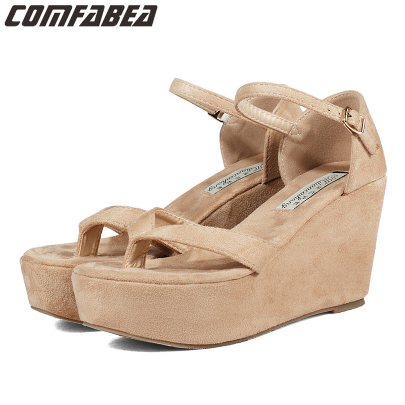 Small Plus Size 33~43 2016 New Fashion Summer Women wedge platform high heel sandals open toe comfortable flat sandals for woman(China (Mainland))