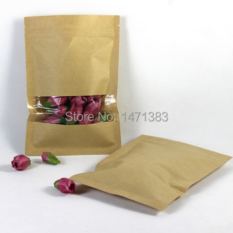 200pcs 12*20cm Kraft paper zip lock gift bag Plastic window zipper lock package Custom ziplock food packaging(China (Mainland))