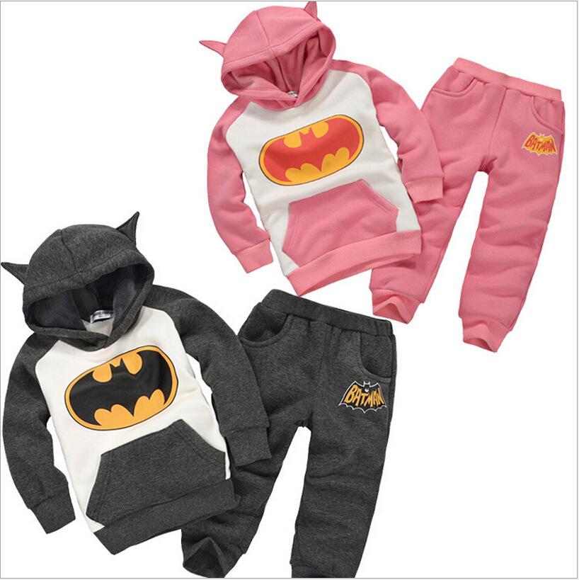Winter Children's Clothing Suits Batman Kids Clothes Girls Clothes Hoodies + Pants Sports Suit Boys Clothes Set Retail JMF042(China (Mainland))