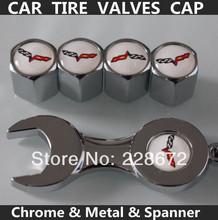 Free Shipping Chrome Corvette Emblem Tire Valve Caps Corvette Sticker Tyre Valve Dust Caps(1Sets+Metal Spanner)(China (Mainland))