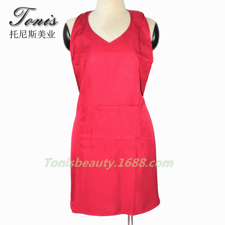 Red Color Nail Shop Apron, Working Garment For Spa , Hair Clothing For Women Work For Hairdressing, Salon Hair Apron With Pocket<br><br>Aliexpress