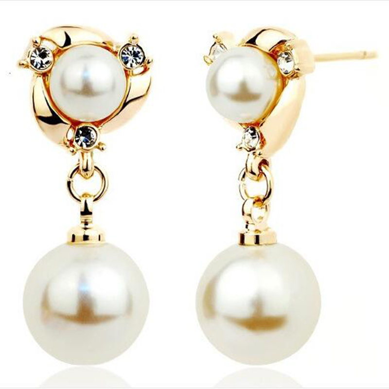 Long Golden Plated Double Small Big Simulated Pearl Drop Earrings Elegant Athena Dangle for Women Fashion Jewelry(China (Mainland))