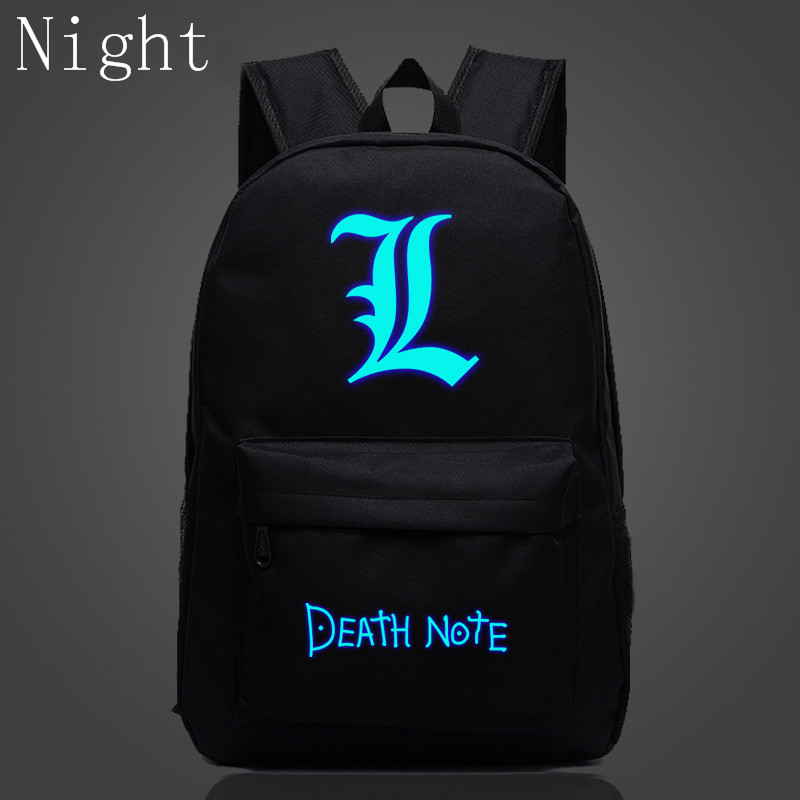 2017 Hot Death Note School Book Children Luminous Backpack For Teenagers Nylon Shoulder Bag Students Travel Bag Mochila Escolar(China (Mainland))