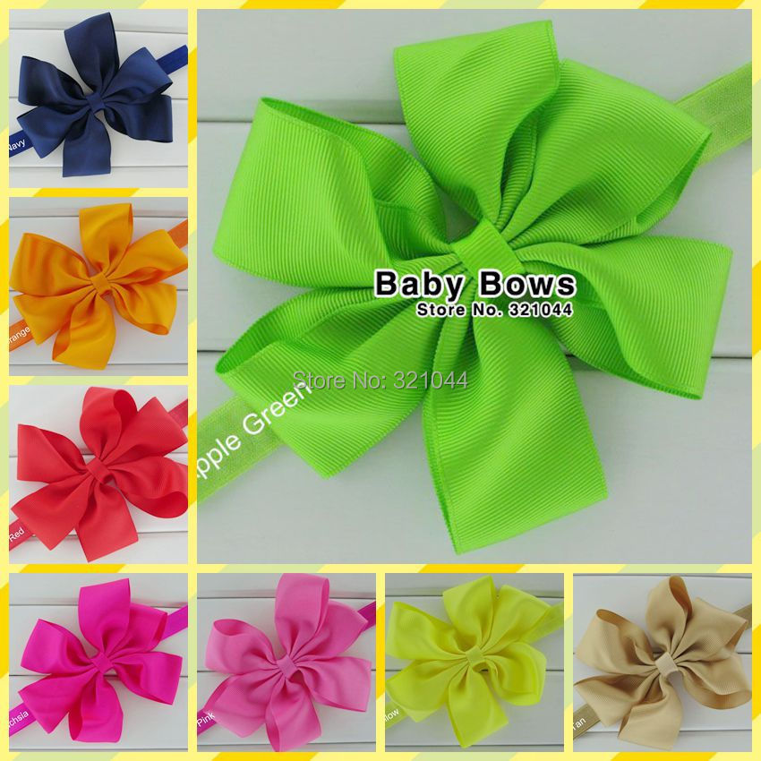 20pcs/lot 4.5 Inch Grosgrain Twisted Boutique Ribbon Hair Bows Glued With Baby Elastic Headbands Hair Accessories Free Shipping(China (Mainland))