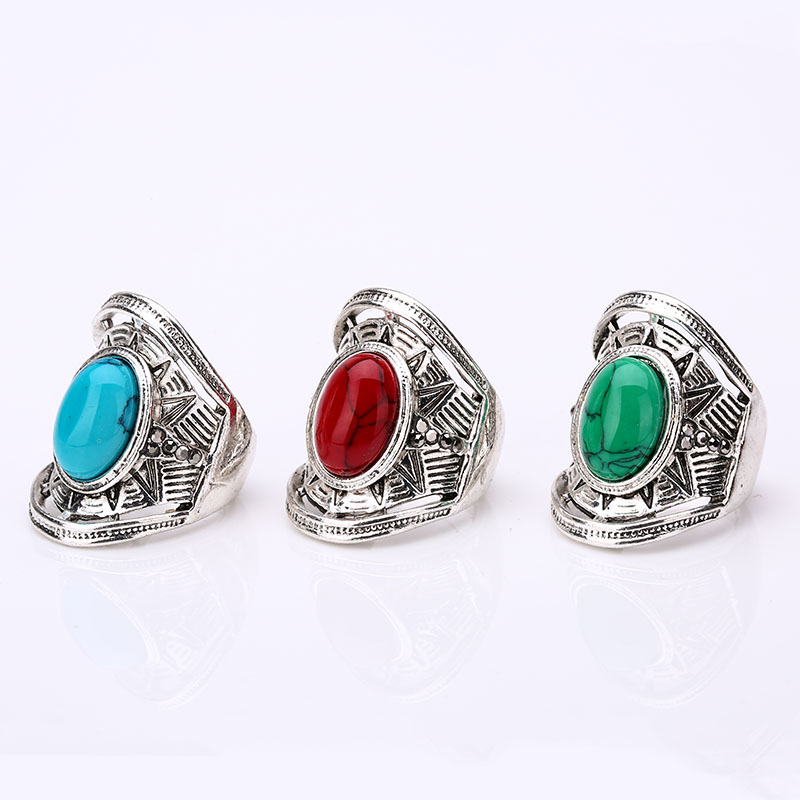 Sale Silver Plated Large Green Stone Wedding Rings Vintage Luxury Big Unique Turquoise Punk Party Rings Women's Tibetan Jewelry(China (Mainland))