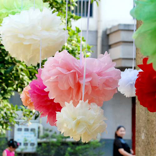 1PC Hot Sale 6''(15CM) Tissue Paper Pom Poms Wedding Party Decorative Paper Flower For Garden Supplies/Wedding Car Decoration(China (Mainland))