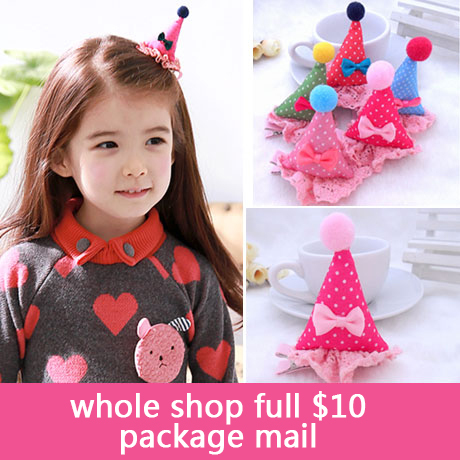 2015 new Children's Birthday hat hair clips Baby birthday hairpin Lace the three-dimensional card(China (Mainland))