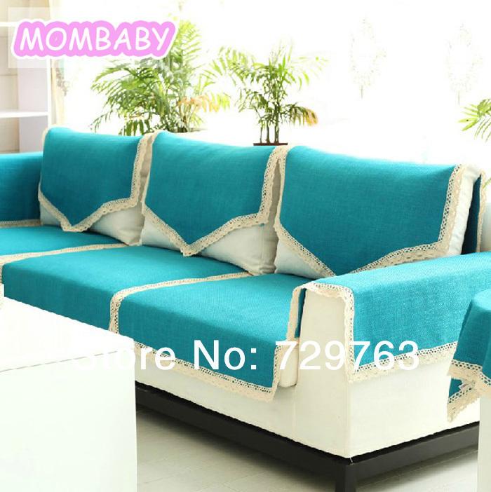 6pcs Set Upscale Blue Solid Color Cloth Sofa Cover Towel