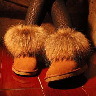 Фотография New 2013 Oversized Fox Fur Boots Women Sheepskin Leather Snow Boots Ladies Waterproof Resistant Slip Warm Shoes Winter H1686
