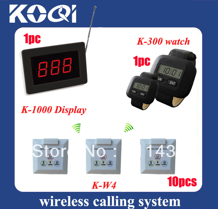 Call center equipment W LED screen panel K-1000 + 1 watch pager K-300 + 10pcs 4-key push button call bill drink cancel(China (Mainland))