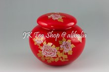 Chinese Red Vivid Peony Painting Porcelain Canister(in a gift package), 100g Tea Capacity(China (Mainland))