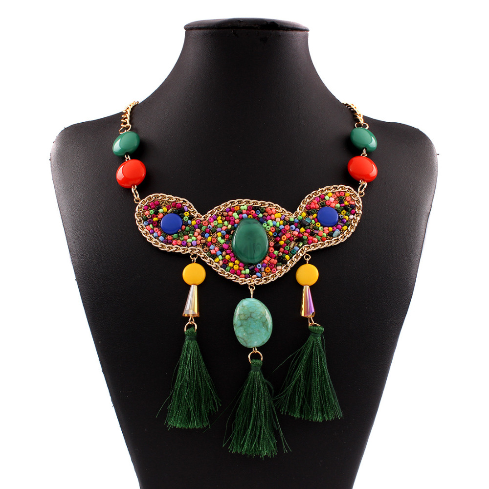 2016 new fashion bohemian power long tassel necklace colar choker necklace vintage gypsy ethnic necklace women Maxi fine Jewelry(China (Mainland))