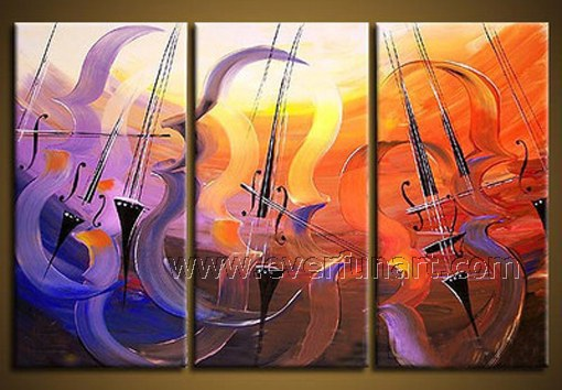 Frameless draw!! Huge Wall Decor Abstract Painting Musical Instrument on Canvas(China (Mainland))