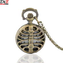 Retro Steampunk Bronze Spine Ribs Hollow Quartz Pocket Watch Necklace Pendant sweater chain Women Gift P970