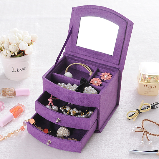 Hot Sell High Quality Velvet Three Layers Portable Multi-functional Necklace Rings etc Jewelry Boxes Gifts Box Free Shipping(China (Mainland))