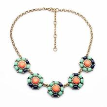Women'S Jewelry Fashion Necklaces For Women 2015 Zinc Alloy Round Flower Pendant Necklace Bohemia Golden Crystal