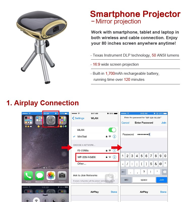 Smartphone Projector mini Beamer Full HD Pocket DLP Phone Projector with WIFI LCD Portable Built-in Media Player Home Theater