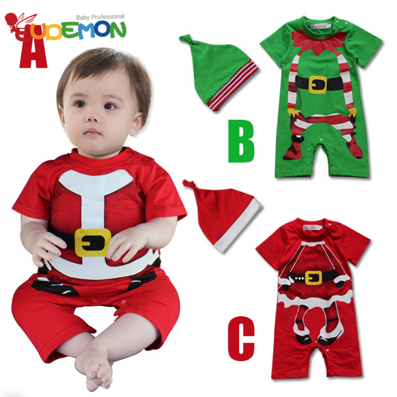 [Eudemon] New Arrival babysuits red green Christmas clothing for boys girl babys lovely Santa Claus pattern sets with hat(China (Mainland))