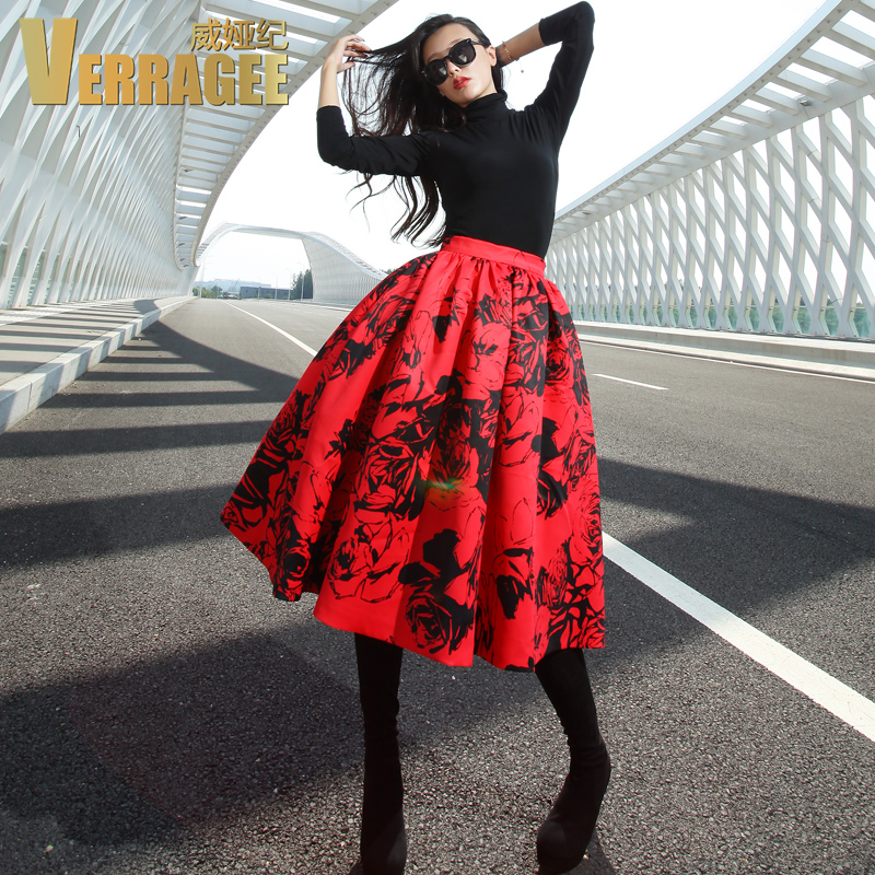 Verragee Women Autumn Winter Skirt 2015 New Arrival Floral Print Red White  Skirt Plus Size Ball Gown Skirt Women Long SkirtsОдежда и ак�е��уары<br><br><br>Aliexpress