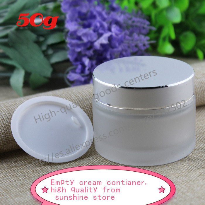 DHL free shipping 50g frosted glass jars, 50ml frost cream jars, skin care cream bottles, 1.7 fl oz cosmetic containers()
