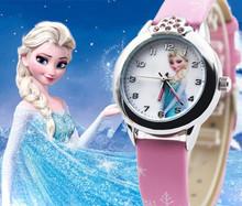 New Cartoon 2015 Princess Elsa Anna Watches Fashion Children Watch Girls Kids Students Leather Sports Wristwatches Gifts k1128