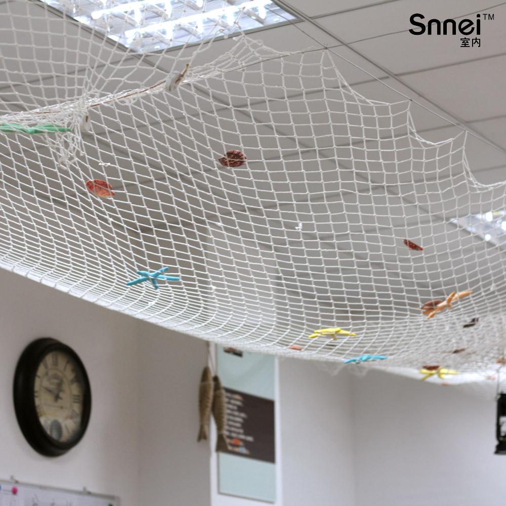 Plafond d coration tentures murales filet de p che blanche for Filet de peche decoration