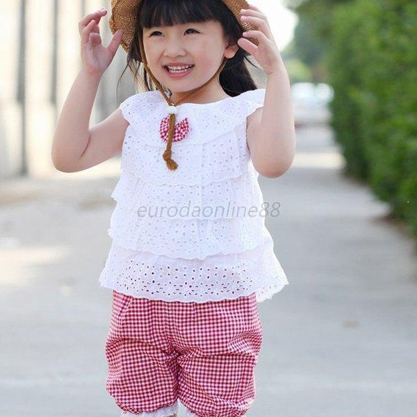New Summer Kids Clothing Set Lace Children Girl Clothes Set T Shirt And Lattice shorts Pants 2 Colors Infant Garment(China (Mainland))